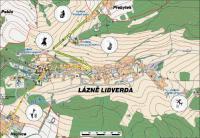 Vyhlídky nad Libverdou - plánek s razítky
